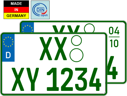 Grünes Zweizeiliges Kennzeichen Nummernschild