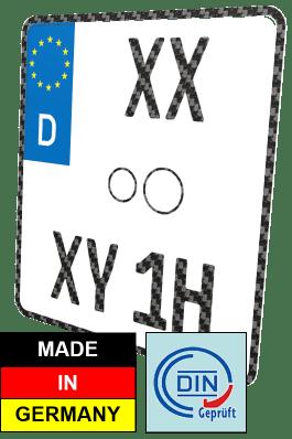 Motorrad Oldtimer H-Kennzeichen Nummernschild Carbon-Optik