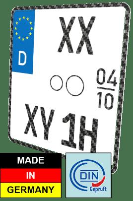 Motorrad Oldtimer H und Saisonkennzeichen Nummernschild Carbon-Optik