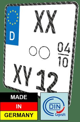 Motorrad Saisonkennzeichen Nummernschild Carbon-Optik