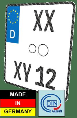 Motorrad Nummernschild Kennzeichen Carbon-Optik